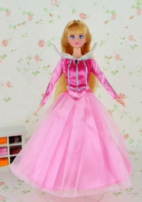 Long Sleeves Pink Tulle Dress for Barbie Doll Princess