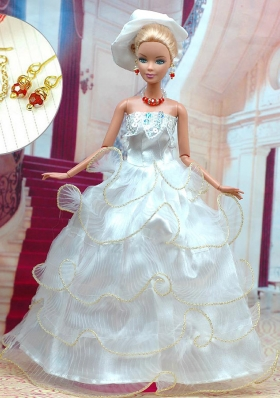 Ivory Layered Organza Wedding Dress for Noble Barbie Doll