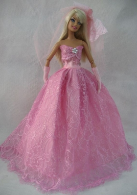 Strapless Rose Pink Lace Wedding Dress For Barbie Doll