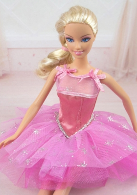Straps Pink Party Dress For Barbie Doll with Beading