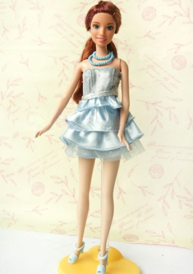 Short Party Dress With Sequin and Ruffles For Barble Doll