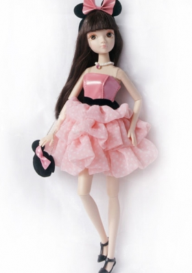Pink Princess Dress For Noble Barbie With Pick-ups