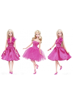 Hot Pink Dress for Barbie Doll with Sequins Quinceanera