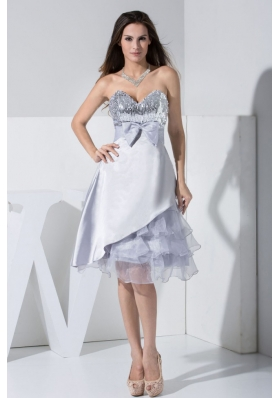 Sweetheart Grey Tea-length Prom Dress with Sequin and Bowknot
