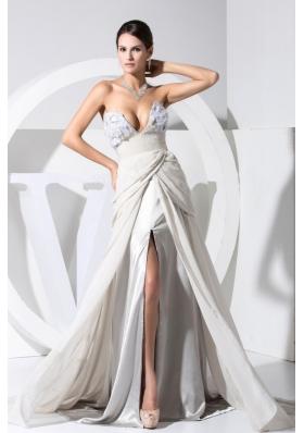 Chiffon Grey V-neck Prom Dress with High Slit