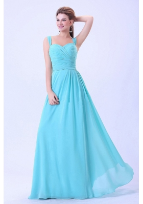 2013 Aqua Blue Prom Dress Chiffon with Straps and Ruch
