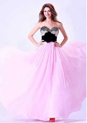 Sweetheart Handle Flower Pink and Black Beaded Prom Dress