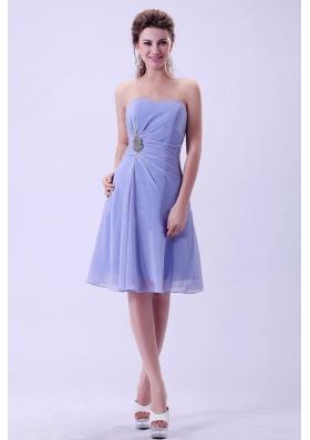 Lilac Chiffon A-line Prom Dress Knee-length