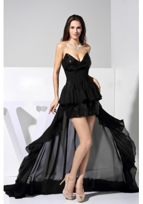 2013 Prom Dress Black Sweetheart High-low with Sequins