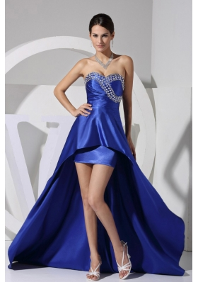 Beaded Sweetheart High-low 2013 Prom Dress Royal blue