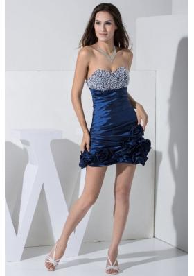 Navy Blue Mini-length Prom Dress with Beading