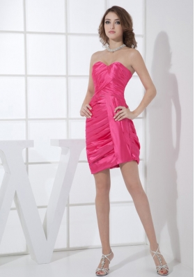 Hot Pink Sweetheart Mini-length Ruching 2013 Prom Dress