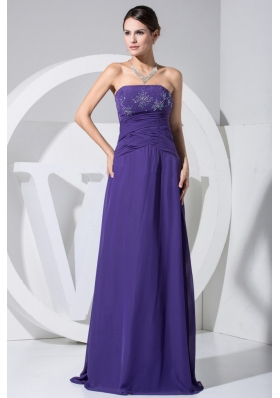 Strapless Purple 2013 Prom Dress with Beading and Ruch