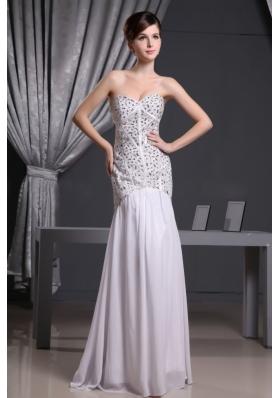 White Mermaid Beaded Prom Evening Dress Floor-length