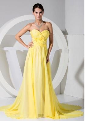 Yellow Chiffon Sweetheart Neckline Brush Train Prom Dress 2013