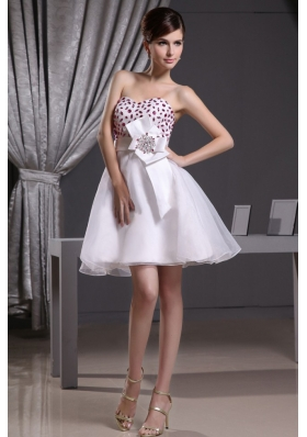 White Beaded 2013 Prom Dress Organza with Sash