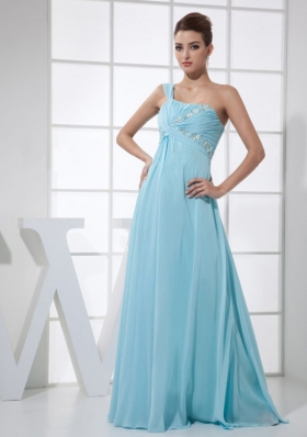 light Blue One Shoulder Beading and Ruch Floor-length Prom Dress