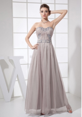 Sweetheart Ankle-length Grey Prom Dress with Beading