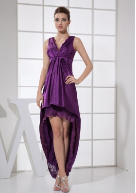 V-neck Purple and High-low Custom Made Prom Dress