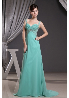 Turquoise Straps Brush Train Prom Dress with Beadng and Ruch