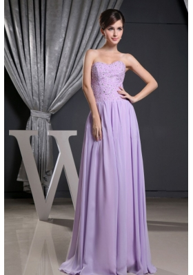 Lilac Sweetheart Floor-length Prom Dress with Beading