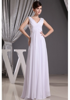 White V-neck Beading and Ruch Prom Dress Floor-length