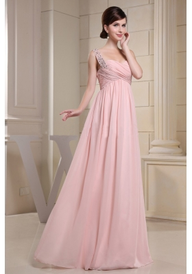 One Shoulder Baby Pink Beaded Ruching Prom Dress