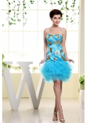 Mini-length Ruffles Prom Gown Baby Blue Appliques
