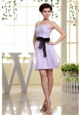 Spaghetti Straps Prom Dress Sashed Short Lilac