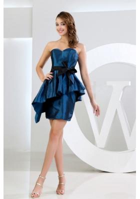 Sweetheart Taffeta Mini-length Sashes Blue Prom Dress