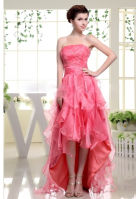 High-low Coral Red Prom Dress with Beading Rufflers