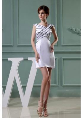 Mini-length Asymmetrical Taffeta White Prom Dress