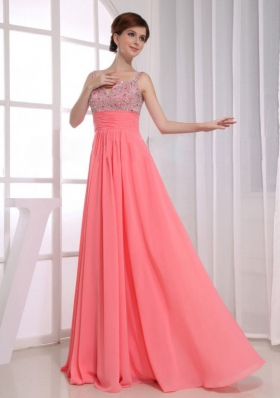 Beading Prom Dress Empire Straps Watermelon Chiffon