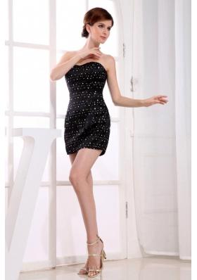 Mini-length Sweetheart Taffeta Prom Dress Black Beading