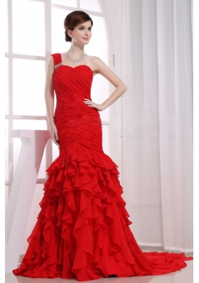 Red One Shoulder Mermaid Ruffles Watteau Prom Dress