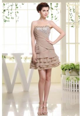 Mini Grey Prom Dress With Beading Ruffled Layers