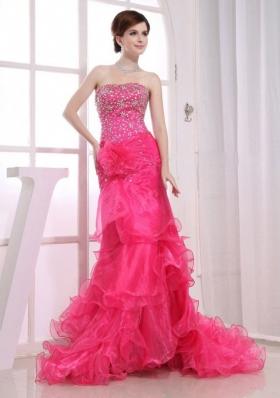 Mermaid Brush Beading Layered Prom Dress Hot Pink