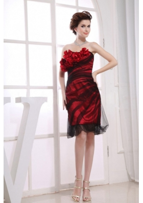 Tulle Hand Made Flowers Knee-length Red Prom Dress
