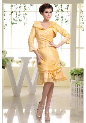 Yellow Prom Dress Knee-length Sweetheart with Jacket