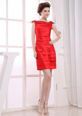 Off the Shoulder Mini Prom Dress Red Ruched Taffeta
