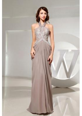 Halter Grey Chiffon Prom Dress Empire Beading