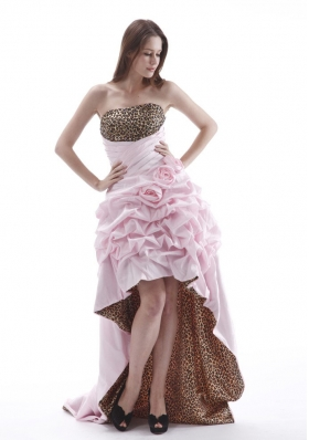 High-low Baby Pink Leopard Prom Dress with Pick-ups