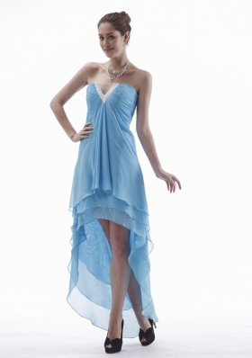 Layerded High-low Light Blue V-neck Prom Dress