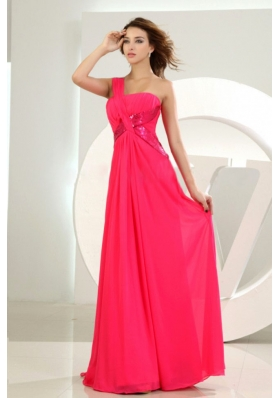 Hot Pink One Shoulder Chiffon Empire Prom Dress