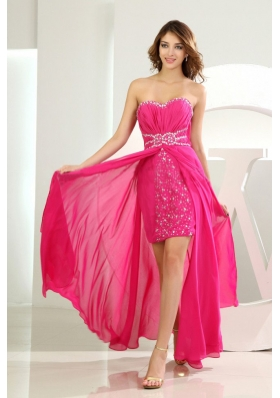 Beading High-low Sweetheart Prom Dress Hot Pink