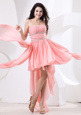 Watermelon High-low Prom Dress Beaded Chiffon Ruffles