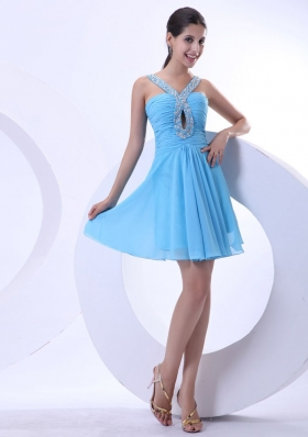 V-neck Aqua Cocktail Dress Beaded Mini-length Chiffon