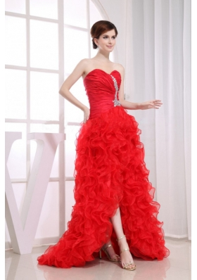 Beading High-low Red Mermaid Prom Dress Organza Ruffles