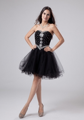 Black Rhinestones Sweetheart Cocktail Dress Mini-length