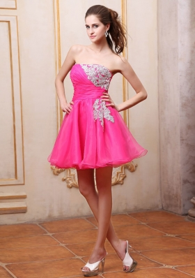 Hot Pink Mini-length Cocktail Dress With Appliques